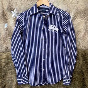 Ralph Lauren Sport Blue Striped Button Down Shirt
